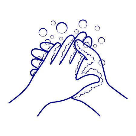 Hand washing and disinfection sign on a white background. Vecteurs