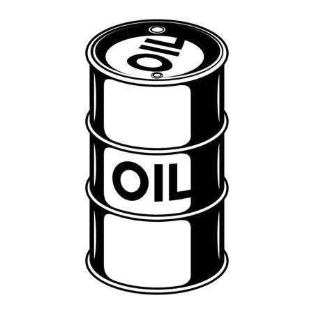 Black oil barrel on a white background. Vector Illustration