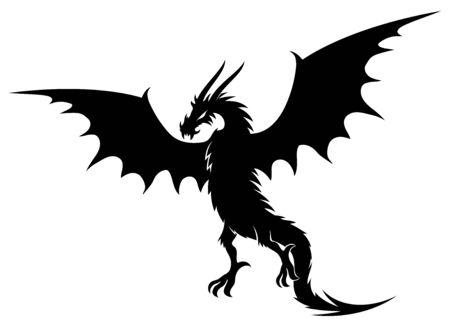 Black dragon sign on a white background. 向量圖像