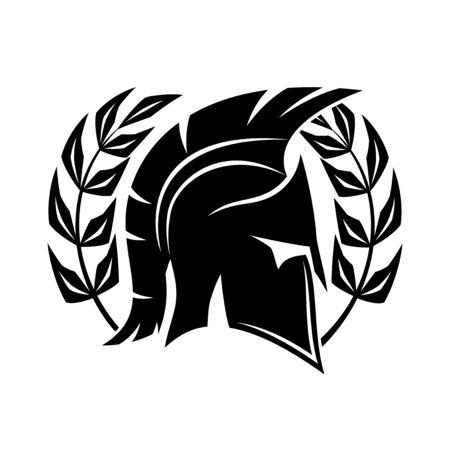 Black spartan helmet on a white background. 向量圖像