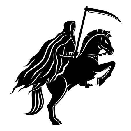 Le cavalier de la mort avec une faux sur fond blanc.