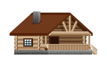 Log wooden house on a white background. Vecteurs
