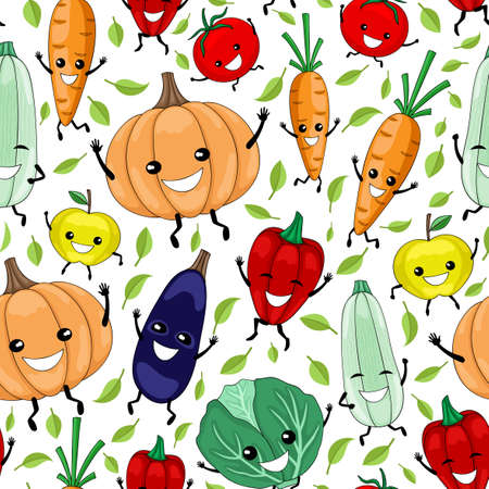 Seamless pattern with funny vegetables and fruits on a white background.