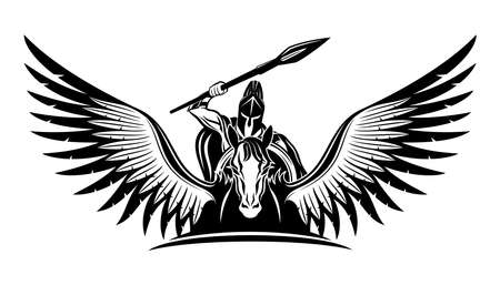 Ancient warrior with a spear and a shield riding a Pegasus.