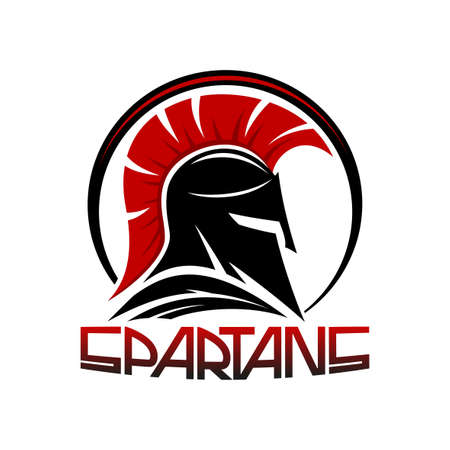 Black spartan helmet on a white background. Иллюстрация
