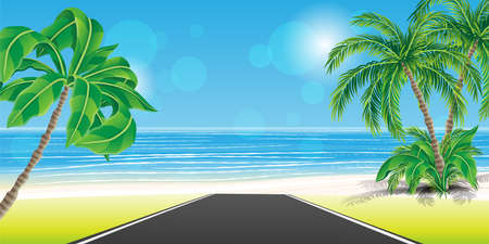 Road to tropical beach with palm trees and white sand. Vektoros illusztráció
