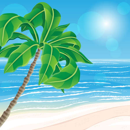 Illustration with beautiful tropical beach and palm tree.