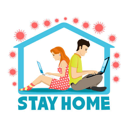 Illustration with people working at home during the epidemic of the virus on a white background.