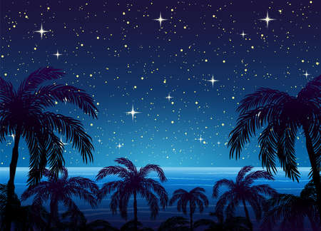 Illustration with silhouettes of palm trees on the background of the ocean and the starry sky.