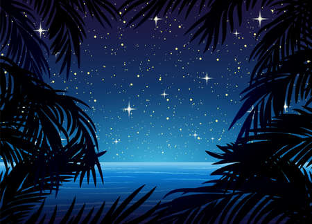 Illustration with palm leaves on the background of the ocean and night starry sky.