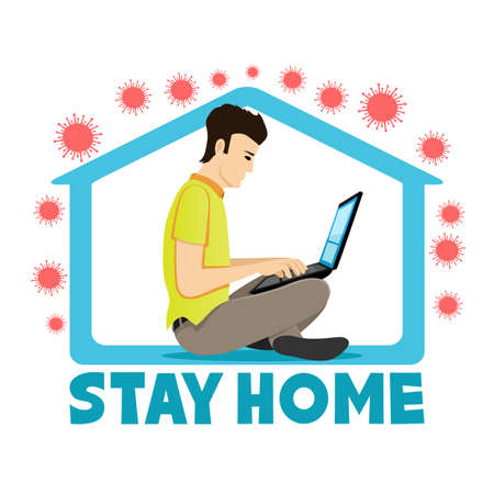 Illustration with a man working at home during a virus epidemic on a white background.