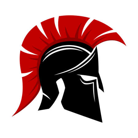 Spartan helmet icon isolated on white background.