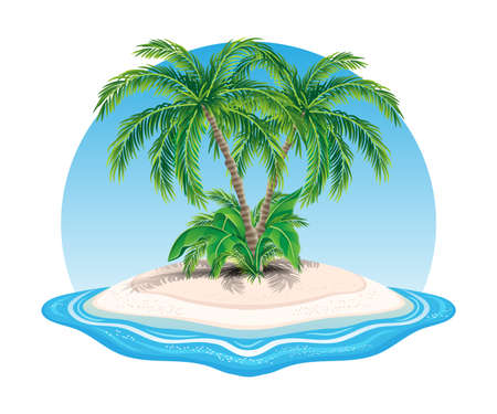 Island icon with palm trees in the ocean on white background.