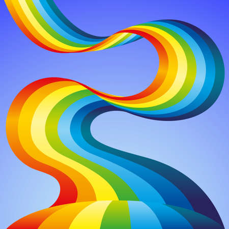 Illustration with beautiful rainbow in blue sky.