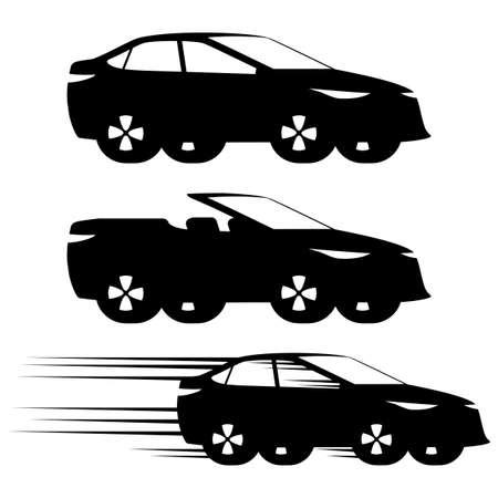Set of black car icons on white background.