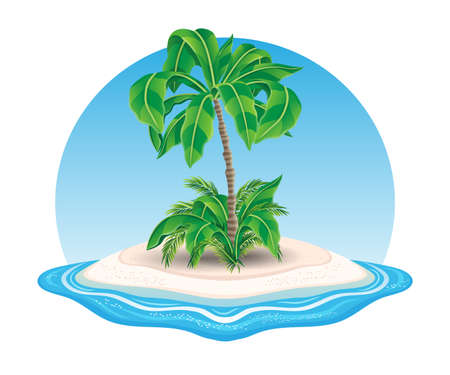 Island icon with palm tree in the ocean on white background. Иллюстрация