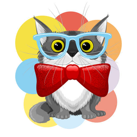 Illustration with a cute cat in glasses and with a bow tie on a background of multicolored circles.