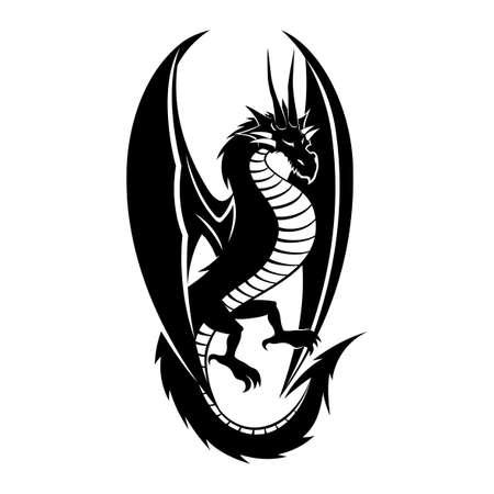 Black dragon sign on a white background. Иллюстрация