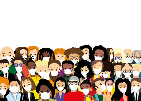 Illustration with a group of people in protective masks on a white background.