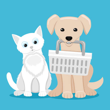Illustration with cute cat and dog with basket on blue background.