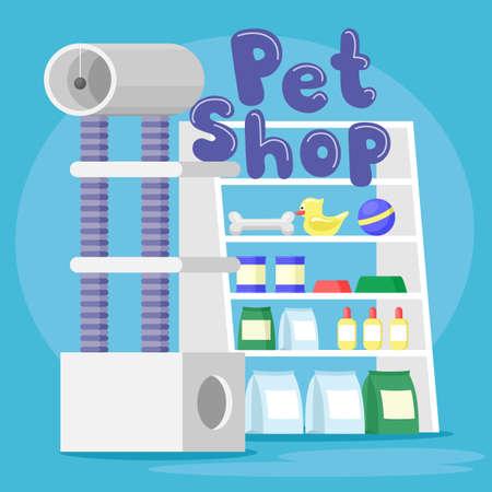Illustration with pet shop on blue background.