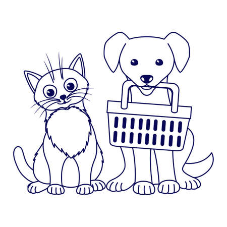 Contour illustration with cute cat and dog with basket on white background.