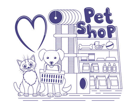 Illustration with cute cat and dog in a pet shop.