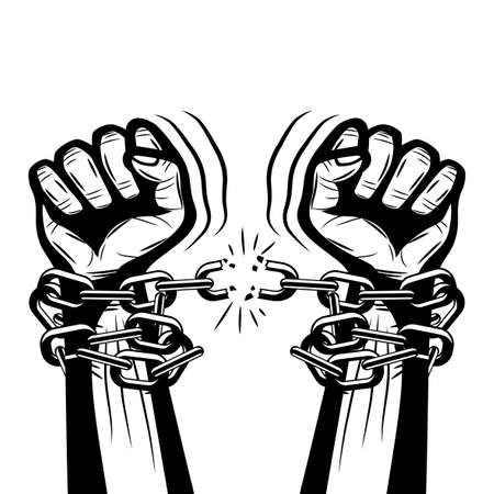 Illustration of human hands breaking steel chains on white background. Иллюстрация