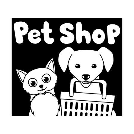 Pet shop icon with cute cat and dog isolated on white background. Иллюстрация