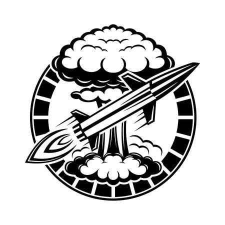 Round icon with nuclear explosion and flying rocket on white background.