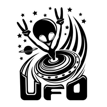 Icon with funny extraterrestrial alien flying in space on white background.