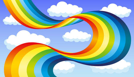 Beautiful rainbow and clouds in the blue sky.
