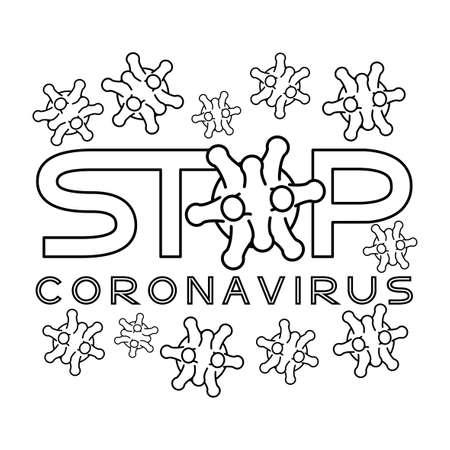 Outline sign on white background stop coronavirus.