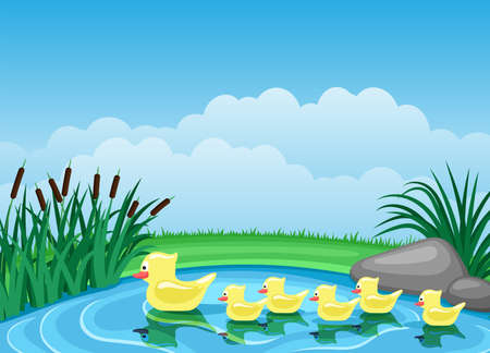 Illustration with cute ducks swimming on the pond.