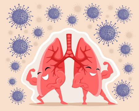 Strong and healthy lungs are protected from viruses on a beige background. Иллюстрация