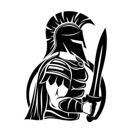 Spartan sign with sword and shield on white background.