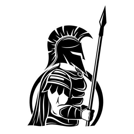 Spartan sign with spear and shield on a white background. Иллюстрация