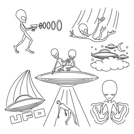 Set of contour illustrations with extraterrestrial aliens on white background.