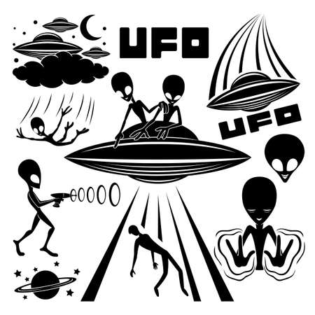 Set of icons with extraterrestrial aliens on white background. Иллюстрация