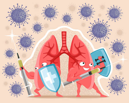 Illustration with healthy lungs with syringes with vaccine and shields protect against viruses. 向量圖像