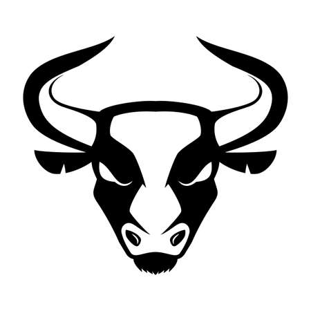 Black icon of an angry bull on a white background.