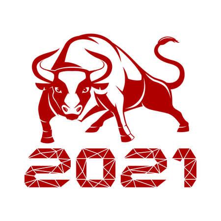 Bull symbol of 2021 on white background.