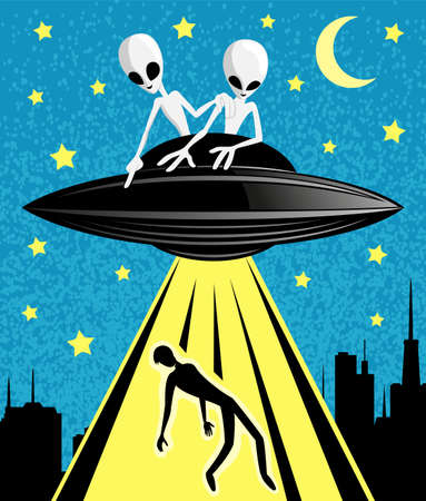 Illustration with extraterrestrial aliens abducting a person at night.