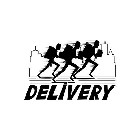 Running delivery man icon on white background.