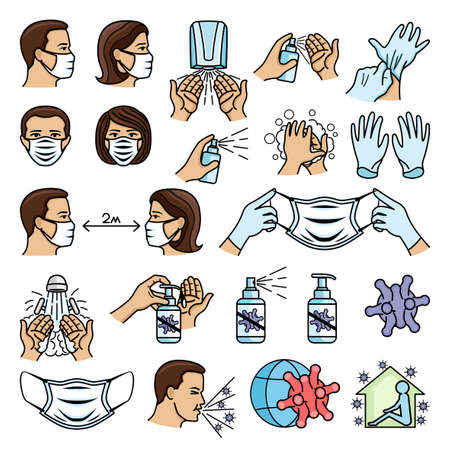 Set of medical icons for disinfection and protection against viruses on white background. Иллюстрация