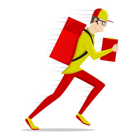 Running delivery man in a cap on a white background.