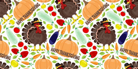 Seamless pattern with turkey and harvest on white background for Thanksgiving Day. Иллюстрация