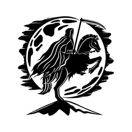 Moon and horseman of death with a scythe on a white background.