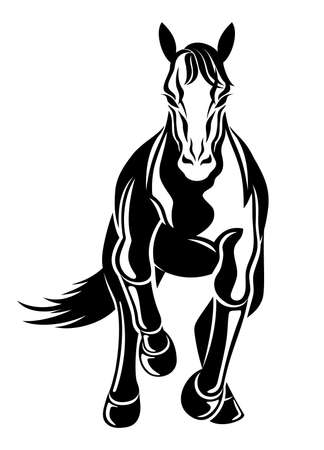 Illustration with galloping horse icon isolated on white background.