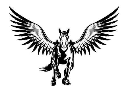 Black icon of flying pegasus on white background.